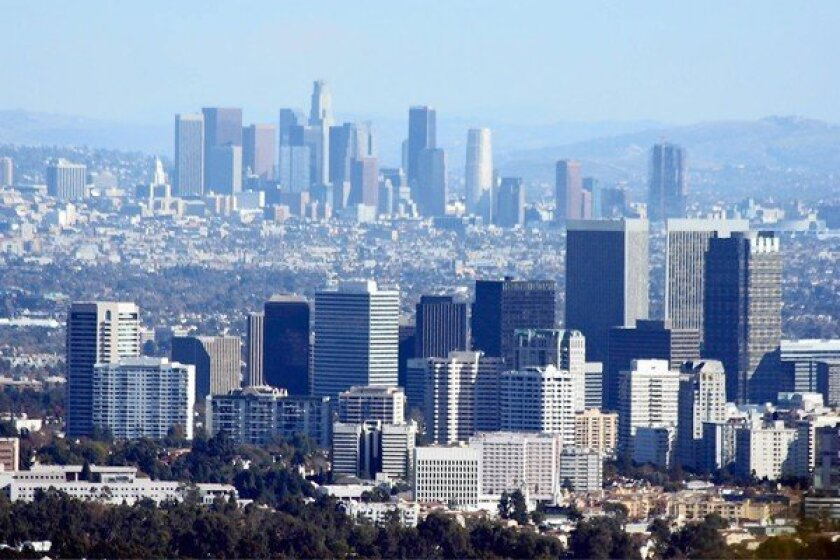 The Santa Monica fault runs about 25 miles from the Pacific Ocean to Century City, foreground, and is considered active by the state.