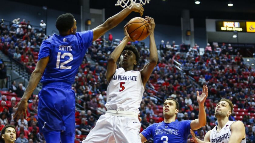 SDSU forward Jalen McDaniels goes up to the basket as Air Force forward Lavelle Scottie attempts to block in the second half.