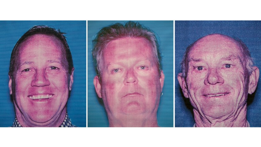 Prosecutors announced public corruption charges against former Palm Springs Mayor Stephen Pougnet, left, and city developers Richard Meaney and John Wessman.