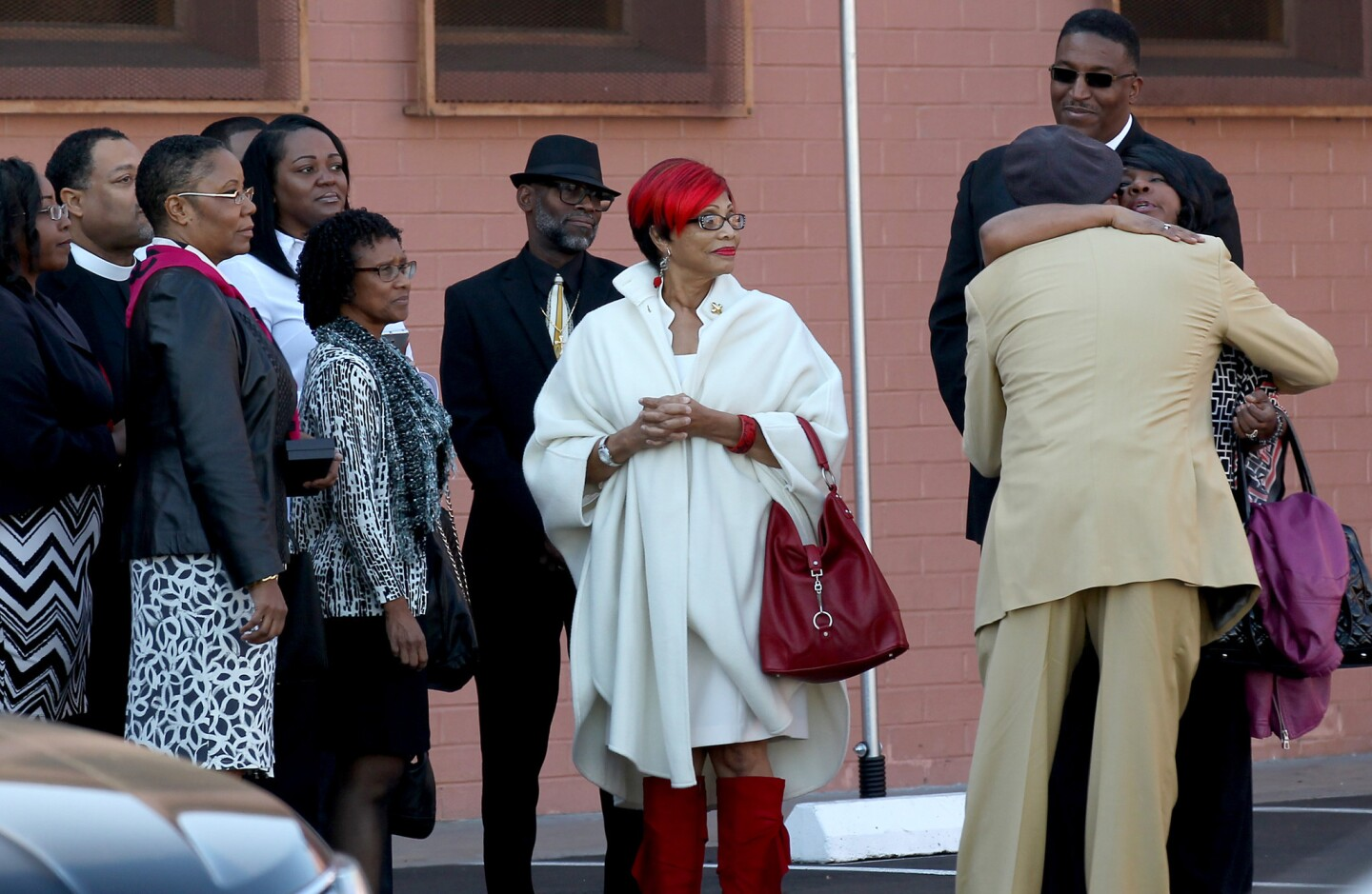 Friends and relatives of Sierra Clayborn gather for her funeral at Mt. Moriah Missionary Baptist Church in South Los Angeles.