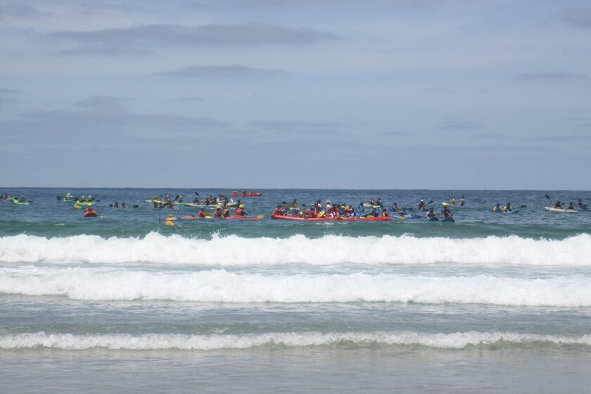 Kayakers off the La Jolla Shores beach on July 12, 2014. Ashley Mackin photo