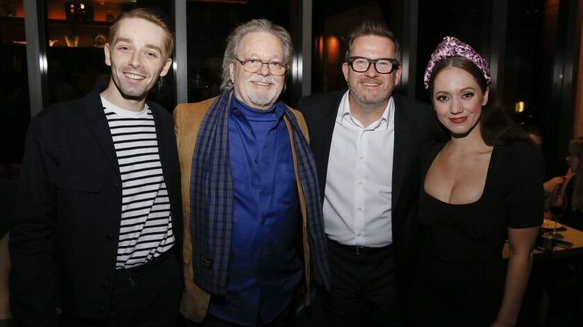 """From left, company member Liam Mower, actor Russ Tamblyn, director-choreographer Matthew Bourne and company member Ashley Shaw at the party for the opening night performance of Bourne's """"Cinderella."""""""