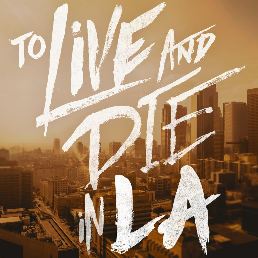 """This image released by Tenderfoot TV & Cadence 13 shows the cover art for the podcast """"To Live and Die in LA,"""" named one of the top ten podcasts by the Associated Press. (Tenderfoot TV & Cadence 13 via AP)"""