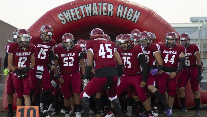 Sweetwater prepares to take the field in its 35-0 homecoming win over El Cajon Valley.