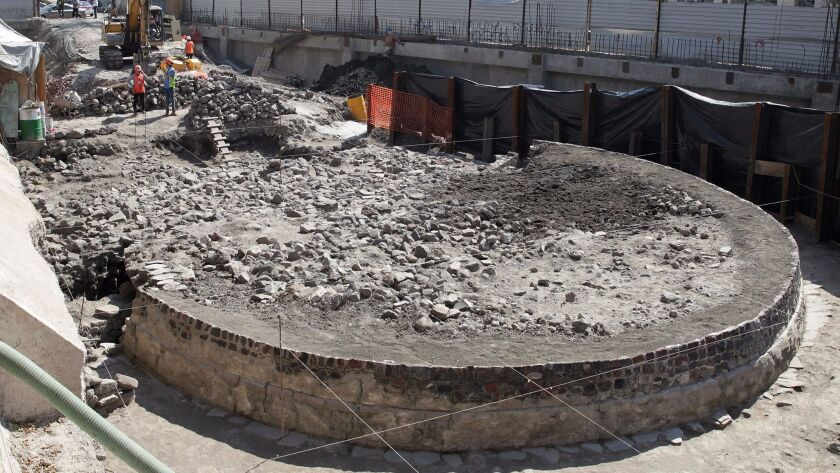 General view of newly uncovered remains of a temple that was built more than 650 years ago in the Tlatelolco neighborhood of Mexico City.
