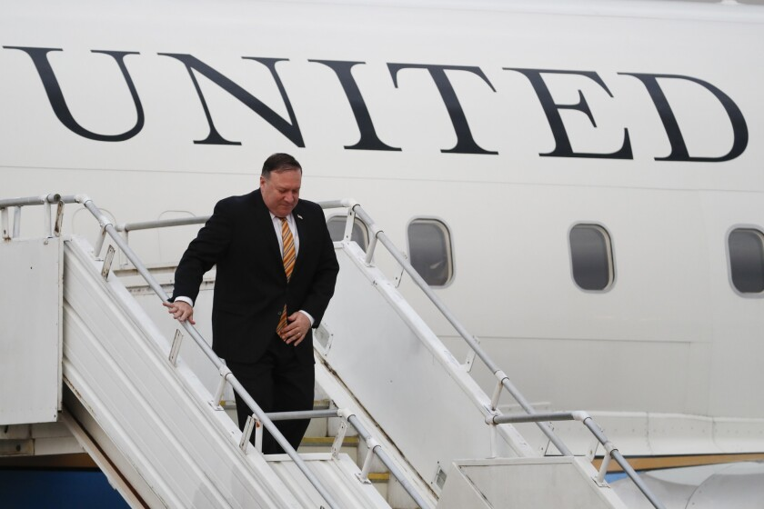 Secretary of State Michael R. Pompeo arrives in Malaysia on Aug. 2, 2018.