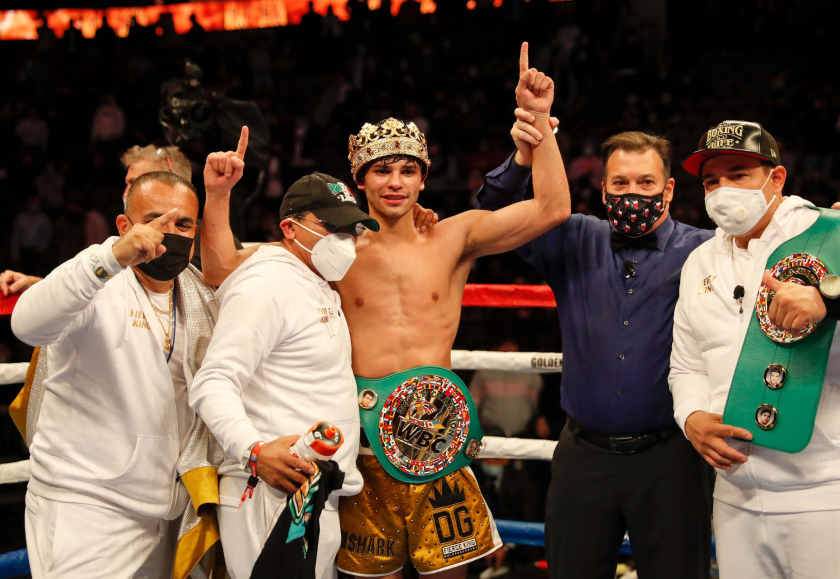 Ryan Garcia reacts after defeating Luke Campbell in a WBC title fight Jan. 2, 2021, at American Airlines Center in Dallas.
