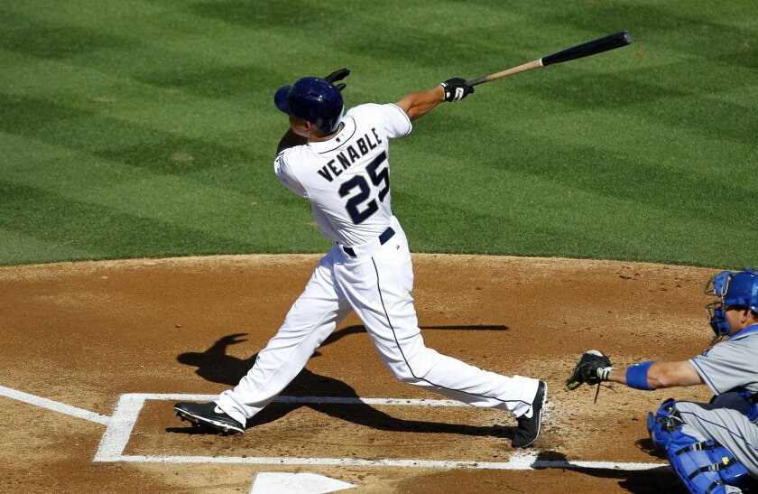 Padres Will Venable hits a home run in the 1st inning against the Dodgers.