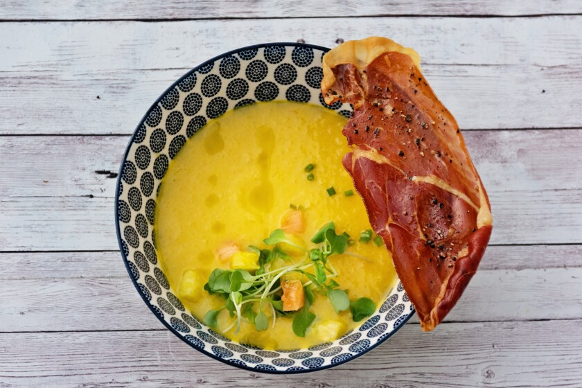 Pineapple Gazpacho is inspired by the chilled, flavorful soups from the Andalusia region of southern Spain.