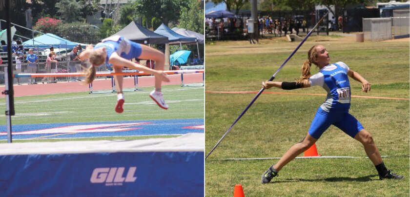 Left, Lexanna Schultz took third place in the high jump with a jump of 1.50 meters. Right, Charlotte Maher took first place in the javelin with a throw of 37.10 meters, her third consecutive regional championship in that event. Courtesy photos