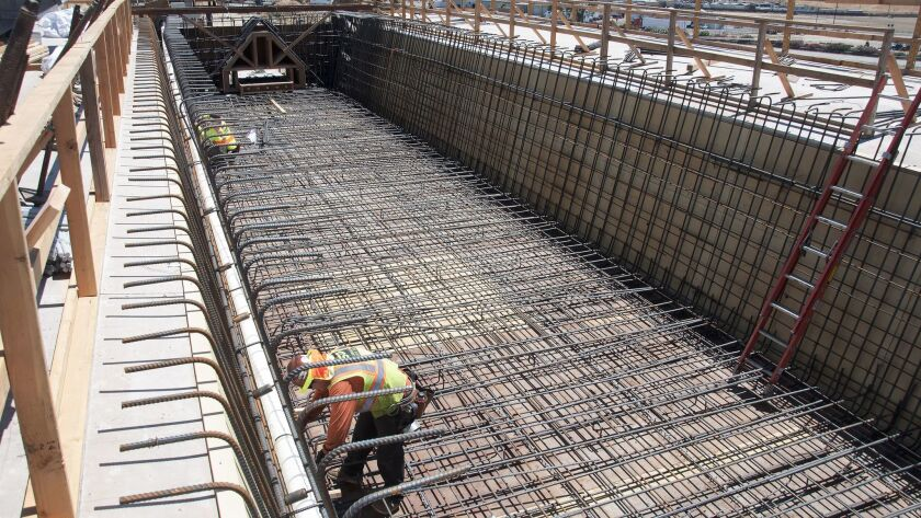 The Cedar Viaduct under construction in Fresno.