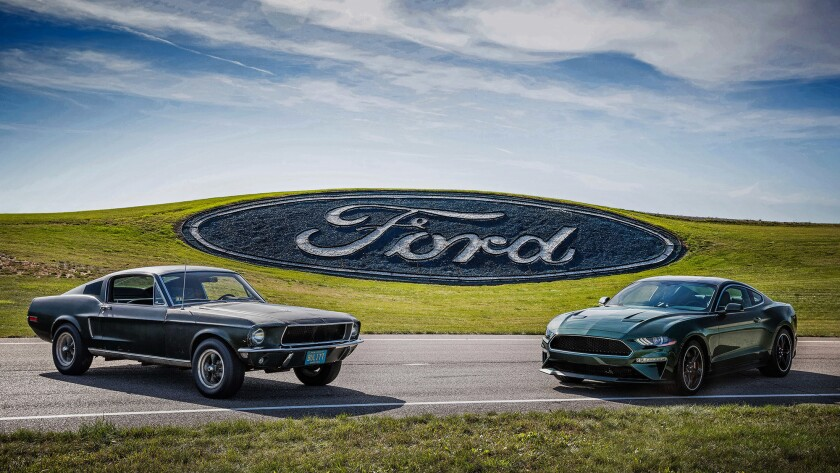 Original 1968 Bullitt Mustang, left, and 2019 Mustang Bullitt.