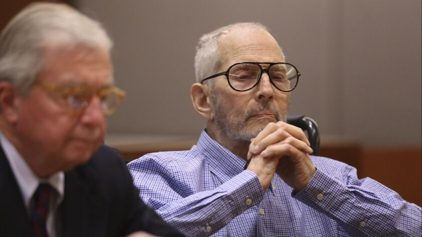 New York real estate magnate Robert Durst, right, shown at an earlier hearing, appeared in court Thursday for a pretrial hearing.