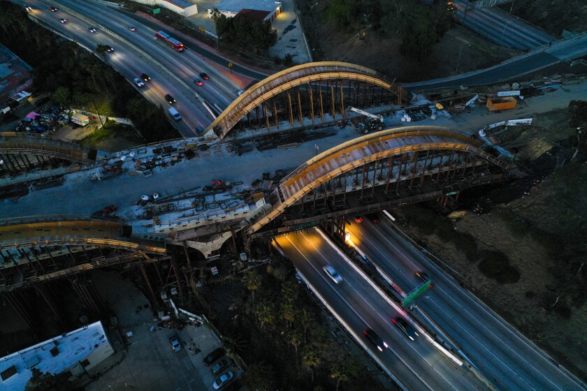 An aerial view of the Sixth Street Viaduct Replacement Project that crosses the 101 Freeway in Los Angeles.