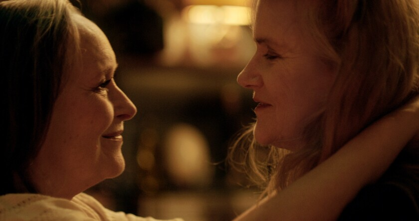"""Martine Chevallier and Barbara Sukowa smile at each other in """"Two of Us."""""""