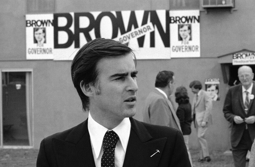 Brown campaigns in Riverside in 1974.
