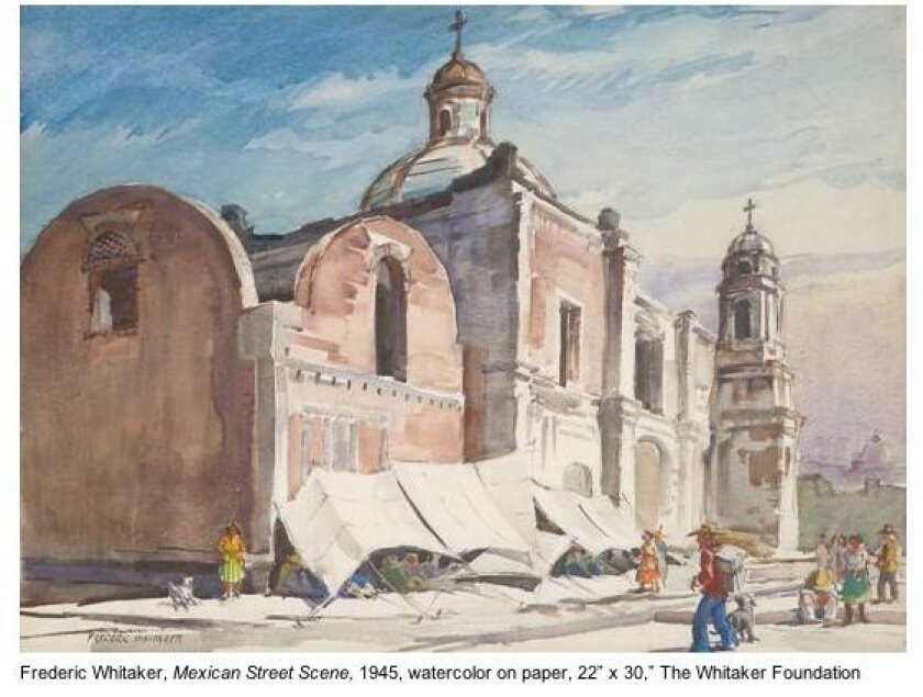 A Mexican Street Scene by Frederick Whitaker, 1945. Courtesy