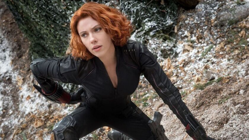 "Scarlett Johansson suits up as Black Widow/Natasha Romanoff in ""Avengers: Age of Ultron."""