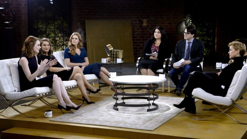 The Envelope talks with lead actresses Emma Stone, left, Natalie Portman, Amy Adams, Annette Bening, Ruth Negga (not pictured, next to Annette Bening).