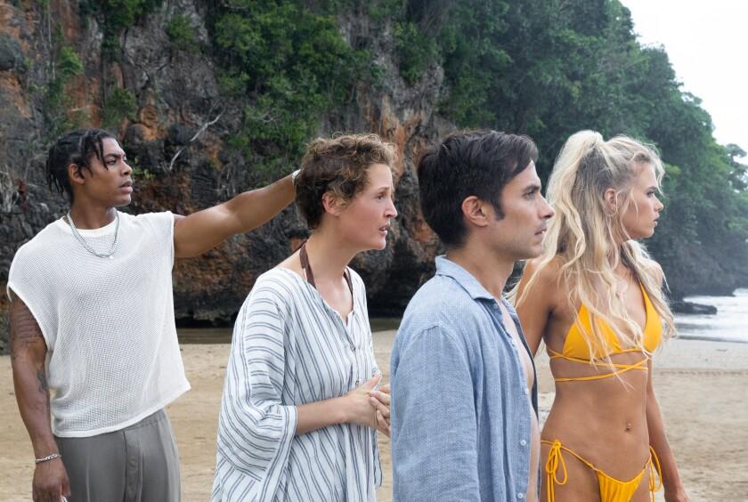 Aaron Pierre, Vicky Krieps, Gael García Bernal and Abbey Lee in the movie 'Old.'