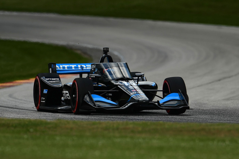 Felix Rosenqvist races during the NTT IndyCar Series Rev Group Grand Prix Race 2 at Road America on Sunday in Wisconsin.
