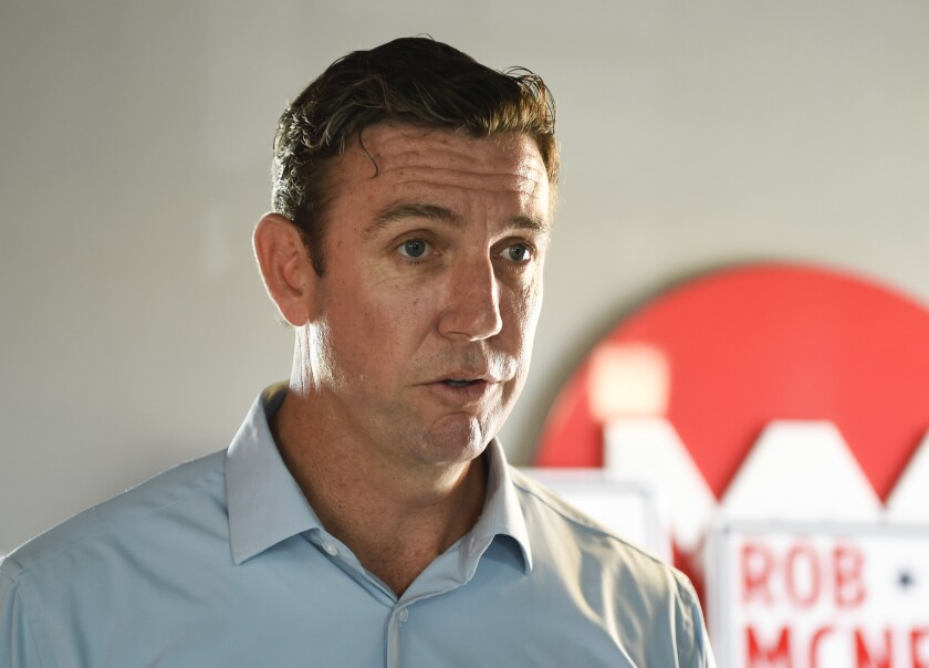 Rep. Duncan Hunter, R-Alpine, speaks during an interview at a call center on in Santee, Calif., last year.