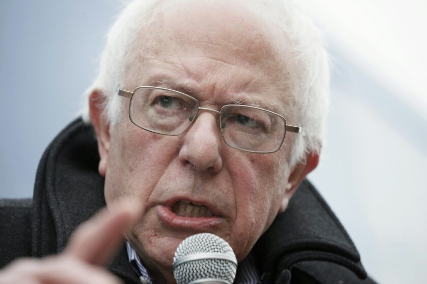 Democratic presidential candidate, Sen. Bernie Sanders, I-Vt. speaks during a news conference after a stop at the United Steelworkers Local 310L union hall, Tuesday, Jan. 26, 2016, in Des Moines, Iowa. (AP Photo/Charlie Neibergall)