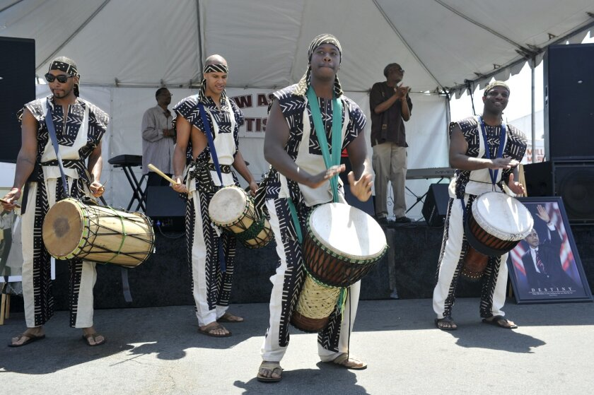 The Teye Sa Throsanne African Drum and Dancers preform at a Juneteenth celebration in 2013.