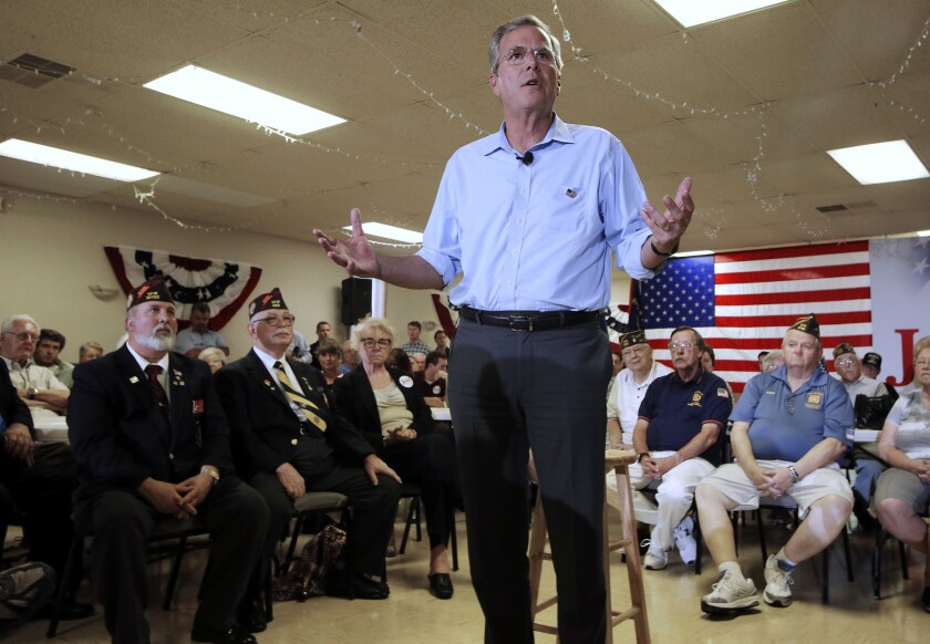 Jeb Bush speaks during a town hall meeting in Hudson, N.H., on July 8.