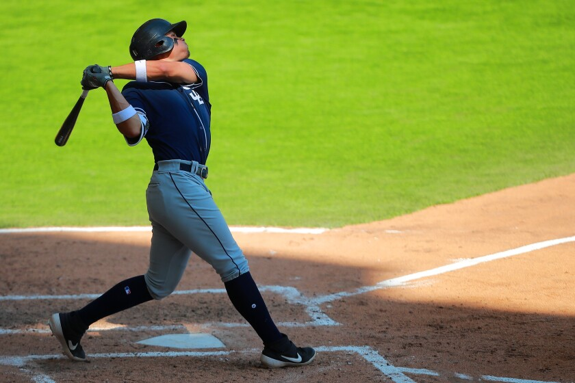 Tirso Ornelas of San Diego Padres bats in the 5th inning during the friendly game between San Diego Padres and Diablos Rojos at Alfredo Harp Helu Stadium on March 24, 2019 in Mexico City, Mexico.