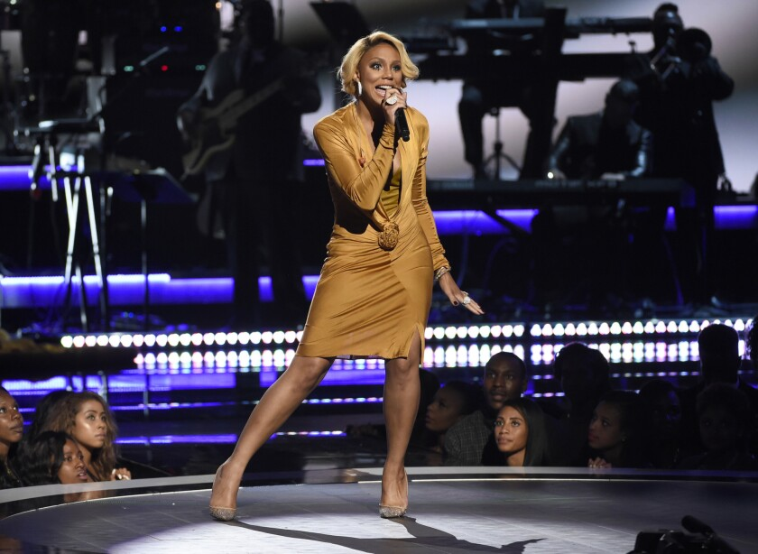 Tamar Braxton performs at the BET Awards in 2015.