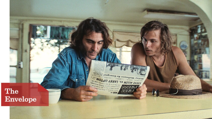 """For """"Inherent Vice,"""" starring Joaquin Phoenix, left, and Jordan Christian Hearn, cinematographer Robert Elswit went for the low-contrast and softer look of old snapshots."""