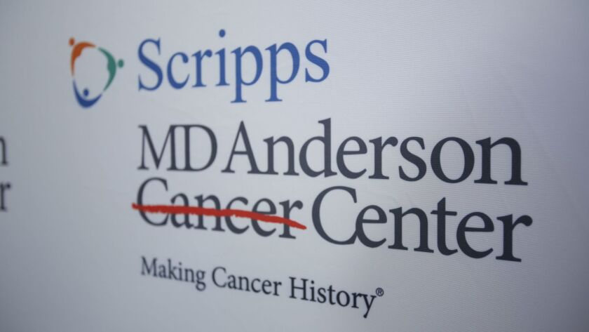 The logo for a joint a cancer collaboration between Scripps Health and MD Anderson Cancer Center.
