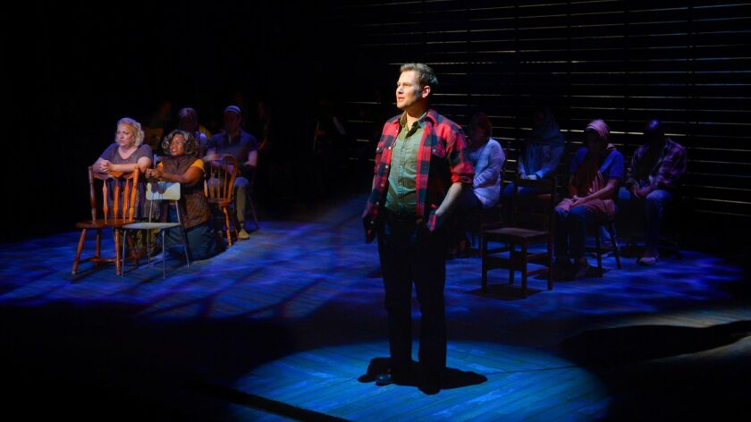 """Chad Kimball and the cast of """"Come From Away"""" in 2015 at La Jolla Playhouse."""