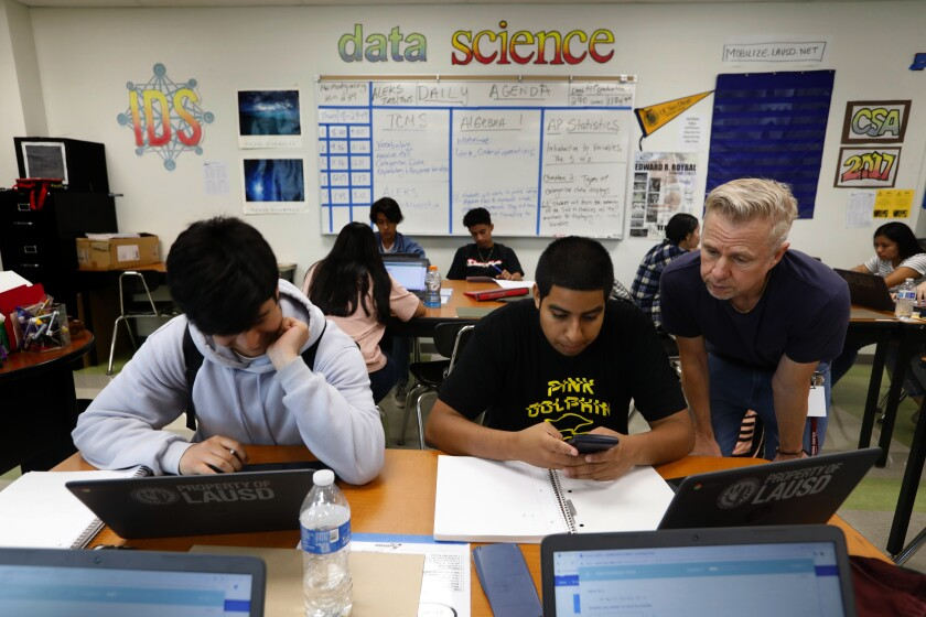 L.A. Unified students in a math class at Roybal Learning Center.