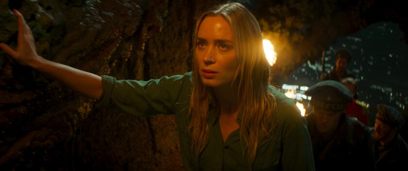 """This image released by Disney shows Emily Blunt in a scene from """"Jungle Cruise."""" (Disney via AP)"""