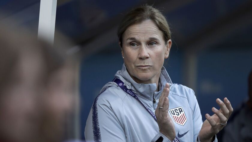 United States coach Jill Ellis applaudes prior to the Women's World Cup Group F soccer match between