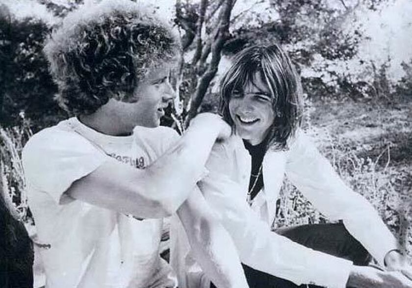Chris Hillman, left, says he and bandmate Gram Parsons, above in Topanga Canyon, finished the song in 30 minutes one morning.