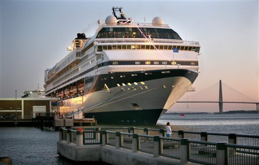FILE - In a Friday, February 26, 2010 file photo, the cruise ship Celebrity Mercury is seen docked at the South Carolina State Ports Authority passenger terminal in downtown Charleston S.C. More passengers are sick with a stomach bug aboard Celebrity Mercury, the same cruise ship hit by a virus on its previous trip from South Carolina. The Post and Courier of Charleston reported Friday, March 5, 2010 that 55 of the nearly 1,900 passengers on board the Celebrity Mercury reported had fallen ill. It sailed from Charleston on Feb. 27 after a one-day delay to allow a crew to sanitize the ship following its previous voyage. (AP Photo/Mic Smith, File)
