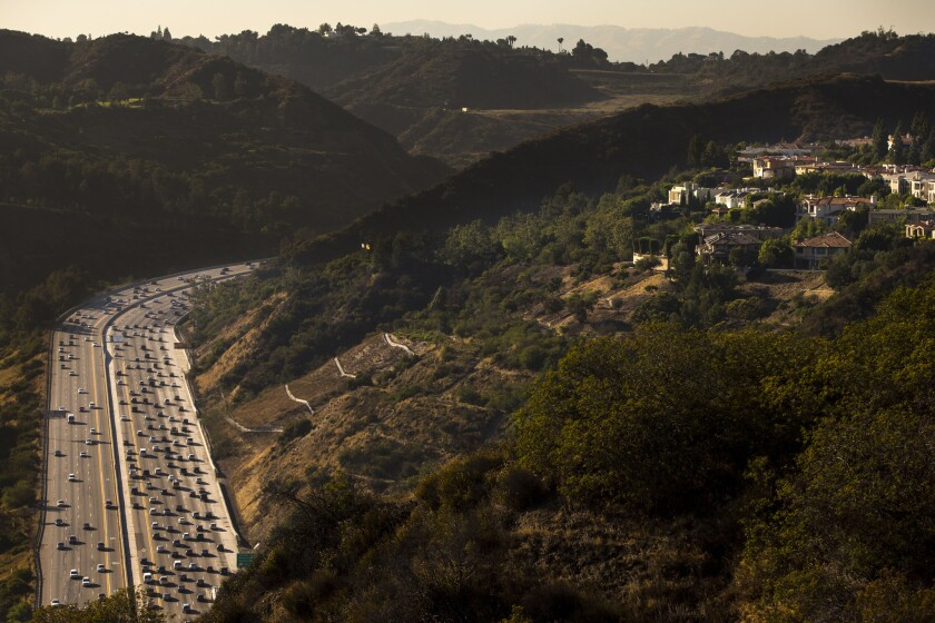Traffic on the 405 Freeway near the Getty Center in the Sepulveda Pass.