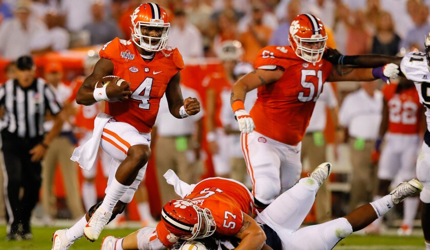 Clemson's Deshaun Watson rushes against the Georgia Tech defense on Sept. 22.