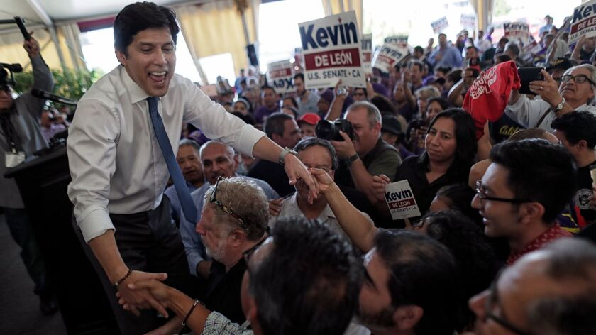 California Sen. leader Kevin de León greets supporters at a rally announcing his candidacy for the U.S. Senate on Oct. 18.