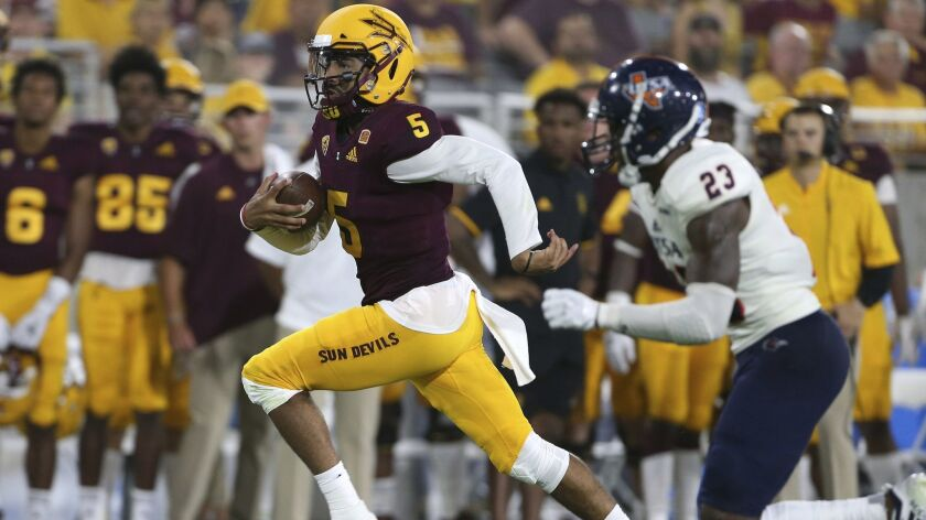 Arizona State quarterback Manny Wilkins (5) runs the ball against UTSA during the second half of an