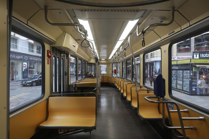 Public transportation in Milan is nearly empty