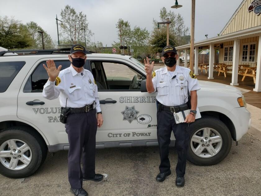 Poway Senior Volunteer Patrol members Richard Shope and Rene Trevino.