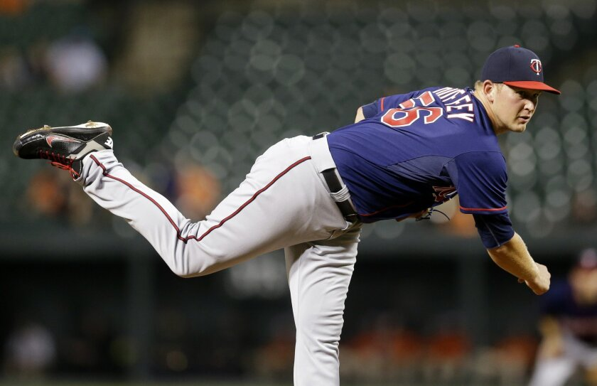 Minnesota Twins starting pitcher Tyler Duffey delivers to the Baltimore Orioles in the first inning of a baseball game, Thursday, Aug. 20, 2015, in Baltimore. (AP Photo/Patrick Semansky)