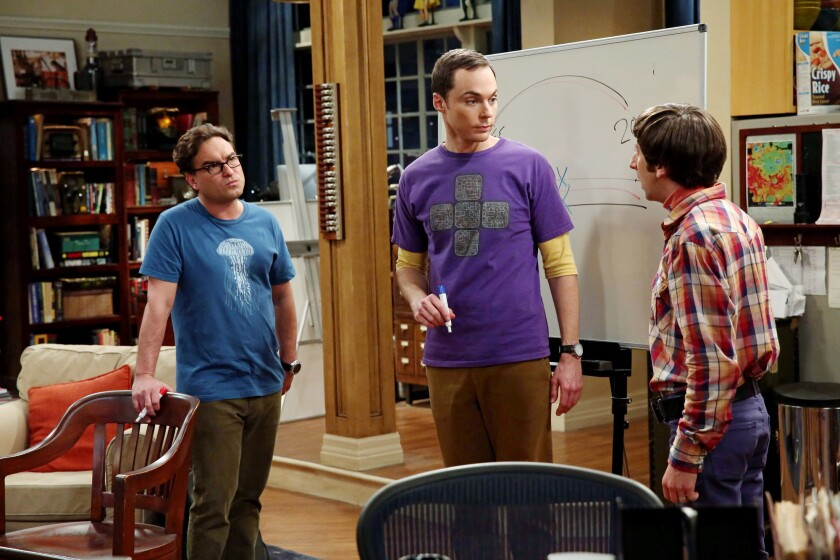 """Pictured left to right: Johnny Galecki, Jim Parsons and Simon Helberg on """"The Big Bang Theory."""""""