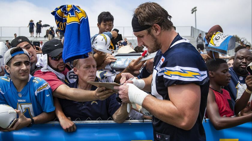 COSTA MESA, CA - JULY 28, 2018: Chargers defensive end Joey Bosa signs autographs after training ca