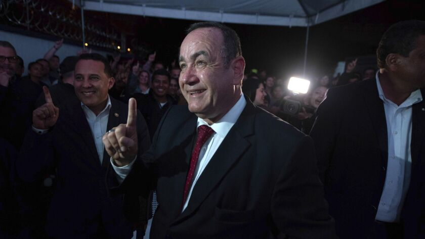 Alejandro Giammattei, presidential candidate of the Vamos party, arrives to his campaign headquarter