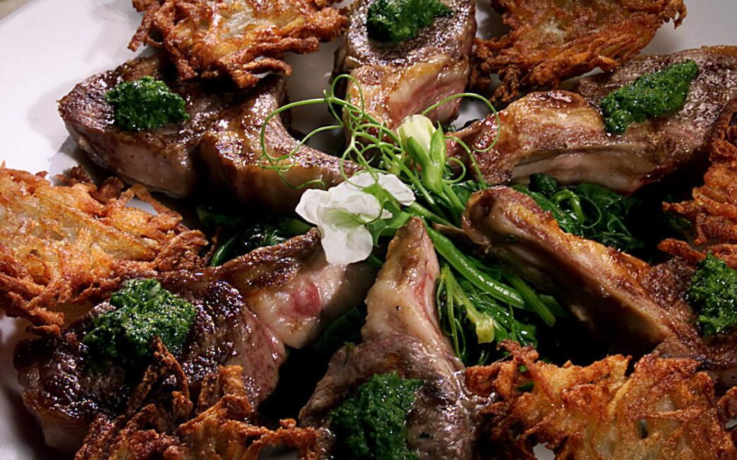 Grilled Lamb Chops With Mint Pesto and Wilted Pea Shoots